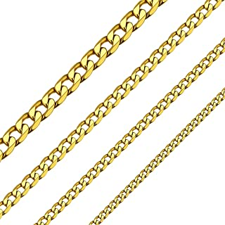 ChainsHouse 4-13MM Curb Mens Chain Necklace Stainless Steel/18K Gold Plated/925 Sterling Silver Flat Miami Cuban Link Necklace for Men Women, 18