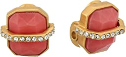Worn Gold/Crystal/Red Jasper