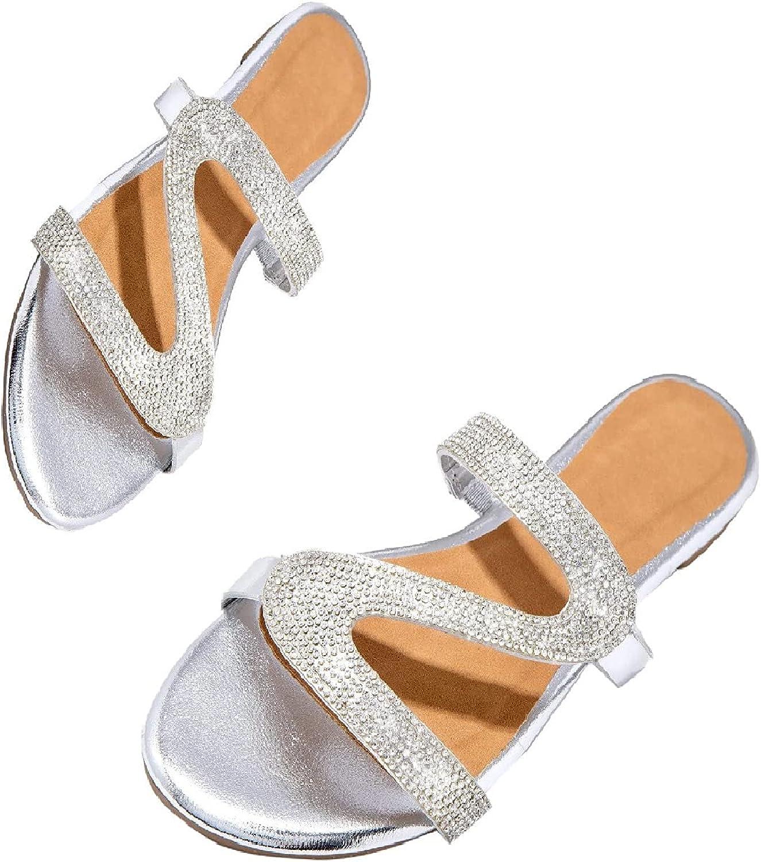 Fukasse Sandals For Women Flat Women'S 2021 Rhinestone Dressy Fl