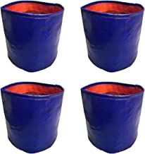 ROCHFERN Blue HDPE Grow Bags 10x10 inches Strong and UV Stabilized Terrace Gardening Vegetable Plants and Gardening Flower Plant -Four Nos (Blue)