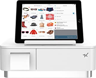 Square and Shopify Register Hardware Bundle Compact- Bluetooth Receipt Printer, 4 Bill 4 Coin Cash Drawer, Universal Table Stand for iPad Air, Air2, Mini and Others (White)
