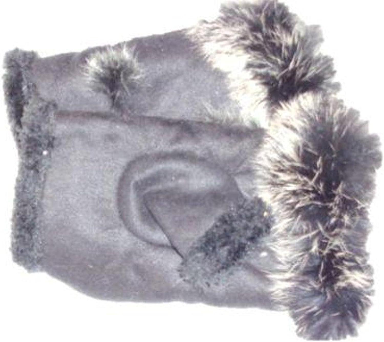 Dark Navy Color Genuine Suede Leather Fingerless Winter Gloves for Women