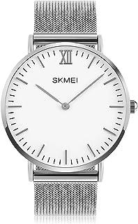 Mens Quartz Watch, Business Analog Wrist Watch Luxury Stainless Steel Band Cool Waterproof Dress Watches- Silver