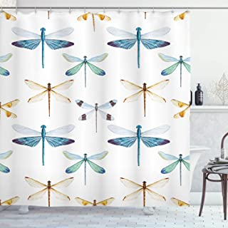 Ambesonne Dragonfly Shower Curtain, Group of Regularly Dragonfly Pattern Short Lives Composition of Bugs, Cloth Fabric Bathroom Decor Set with Hooks, 70