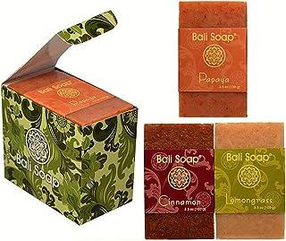 Bali Soap - Natural Soap Bar Gift Set, 3 pc Variety Pack, Papaya - Cinnamon - Lemongrass, Face or Body Soap, Best for All ...