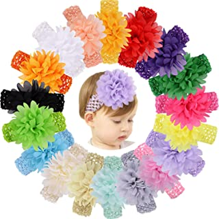 18pcs Baby Girls Headband Chiffon Flower Soft Stretchy Hair Band Hair Accessories for Baby Girls...