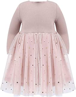 JEATHA Baby Girls Long Sleeves Kintted Top Star Moon Sequins Pleated Tulle Mesh Princess Dress Casual Playwear