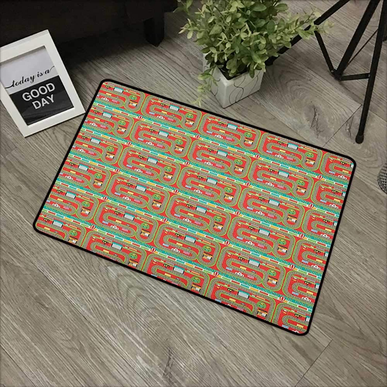Hall mat W35 x L59 INCH Kids Car Race Track Roadway Activity,Car Racing Competition Facilities Bleacher Audience, Multicolor with Non-Slip Backing Door Mat Carpet