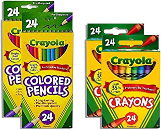Crayola Crayons 24 Count, Pack of 2 Crayola Colored Pencils 24 Count, Pack of 2, Assorted Colors