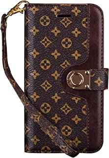 bsweenm iPhone 8 Plus Case,iPhone 7 Plus Case Luxury Floral Monogram Grid Leather Bifold Magnetic Wallet case Cover Women Girl boy for iPhone 7 Plus and iPhone 8 Plus 5.5