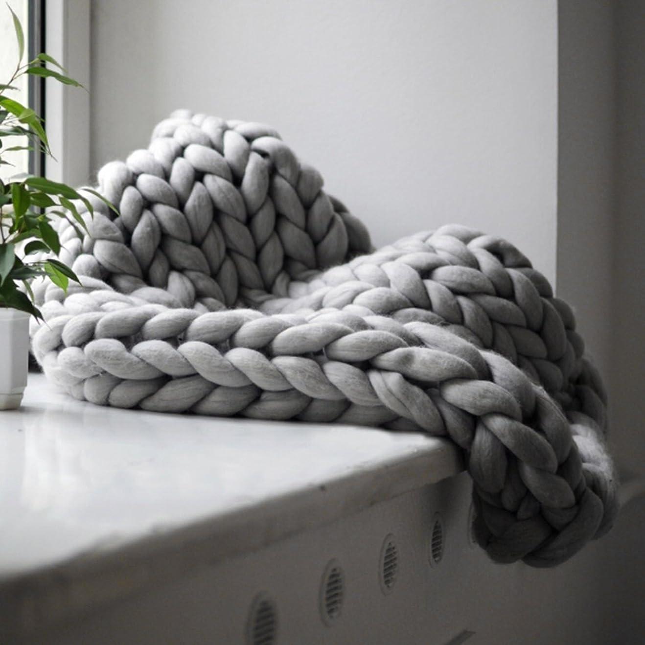 計算ハードリングラボSaikogoods 快適な暖かいソフト太いラインジャイアント糸ニットブランケット手作りマニュアルウィービング写真小道具毛布をキープ グレー 100×120cm
