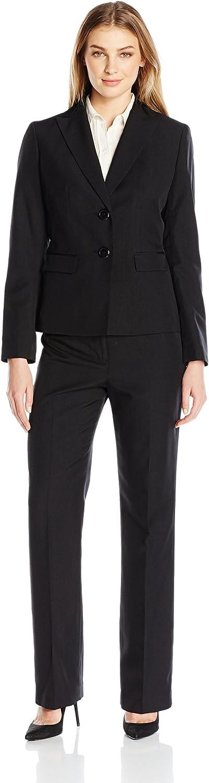 LeSuit Womens 2 Button Black Pant Suit Suit Pants Set