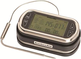 KitchenAid Portable Wireless Remote LED Digital Probe Thermometer with Timer for Oven, Grill and Smoker Use, 5-Inch, Black