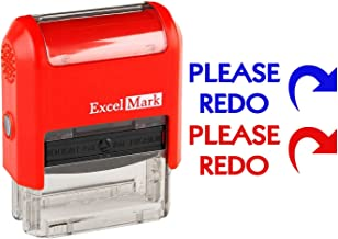 Please REDO - ExcelMark Self-Inking Two-Color Rubber Teacher Stamp - Perfect for Grading Homework - Red and Blue Ink