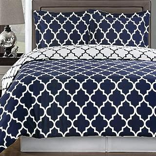 Duvet Cover Set King/Cal King Navy Blue White 100 Egyptian Cotton Print Geometric Pattern Luxury Modern Reversible Bedding and Shams