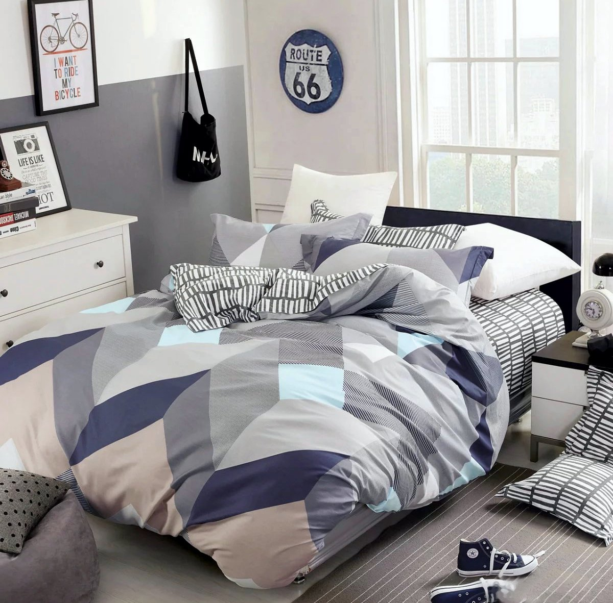 Eikei Home Minimal Style 几何形状被套 现代斯堪的纳维亚设计床上用品 * 纯棉柔软休闲双面方块印花三角图案 Mauve Sky Queen unknown