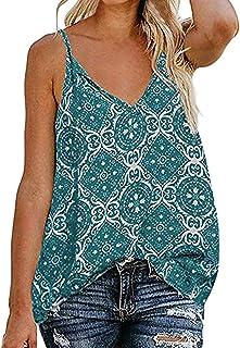 haoricu Women's Boho Floral V Neck Spaghetti Straps Tank Top Summer Sleeveless Shirts Blouse