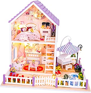 Baosity DIY Handmade Doll House with Furniture & Staircase & Swimming Pool & LED Lights, 1:24 Scale Creative Room for Vale...