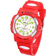 Kids Watch, Child Quartz Wristwatch with for Boys Kids Waterproof Time Teach Watches Rubber Band...