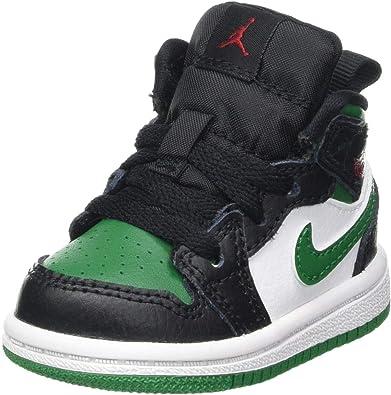 Nike Jordan 1 Mid TD, Basket Mixte Enfant, Nero/Pine Green/White ...
