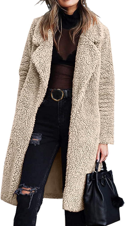 Sunhusing Coat - Women's Fuzzy Fleece Lapel Open Front Long Cardigan Coat Faux Fur Warm Winter Outerwear Jackets Trench Coat