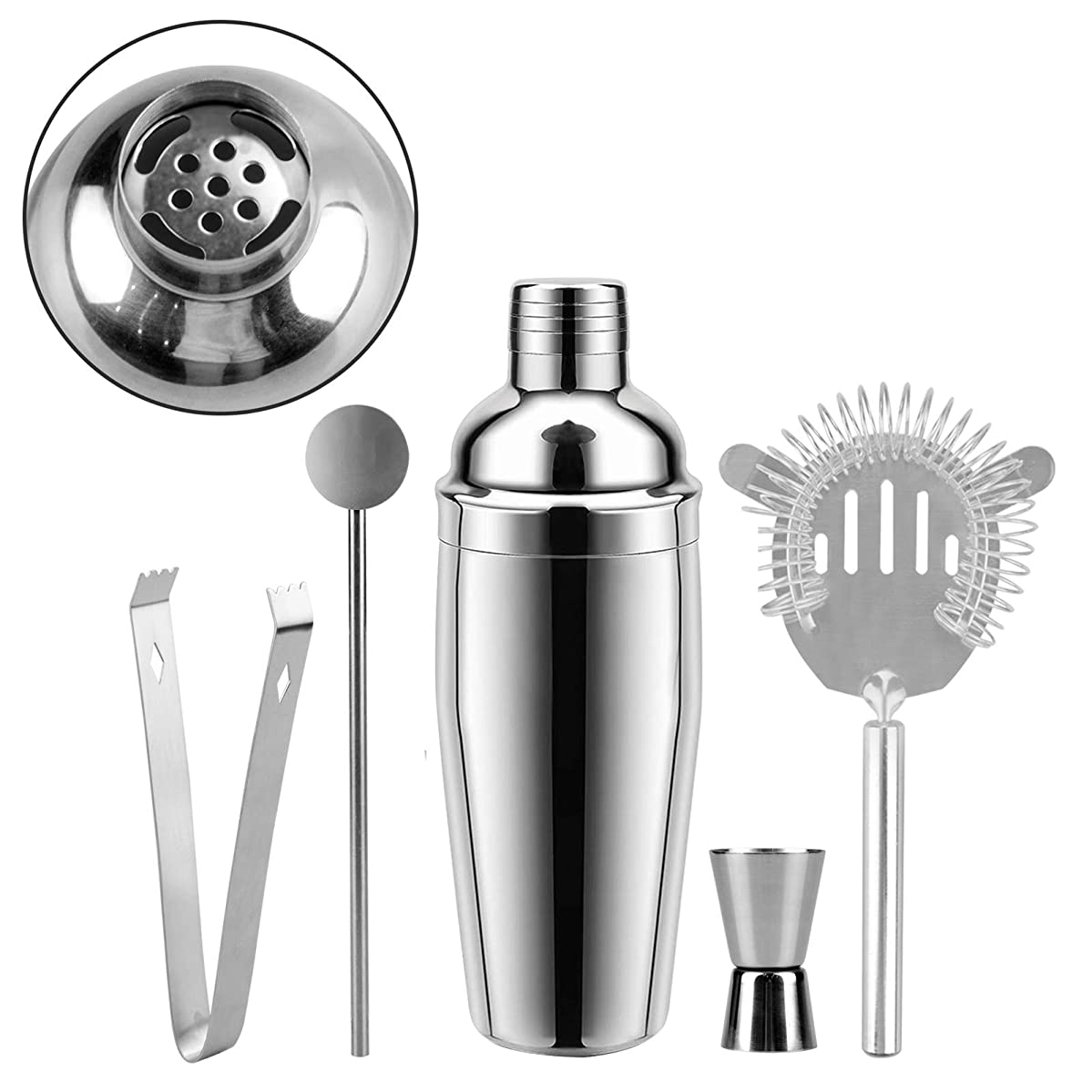 Cocktail Shaker 26 Ounce Martini Shakers Professional Stainless Steel Bartender Barware Tools Kit with Built-in Strainer Drink Recipes by Abool