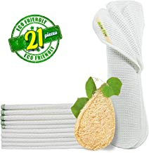 Miw Piw Reusable Unpaper Towels Set 20 & 1 Natural Loofah Sponges, Highly Absorbent Washable Paperless Recycled Organic Co...