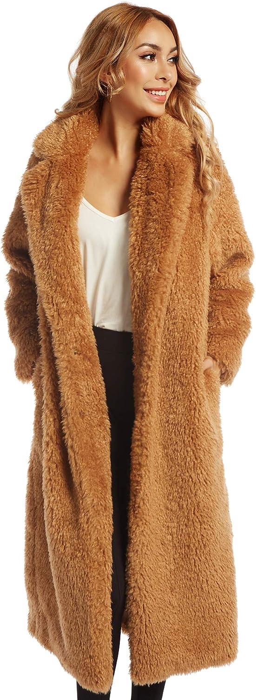 Women Faux Fur Winter Coats Comfort Warm Outerwear Open Front Long Cardigan Overcoat Jacket