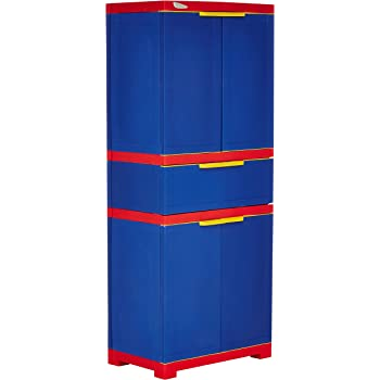 Nilkamal Freedom FMDR 1C Plastic Storage Cabinet with 1 Drawer (Pepsi Blue, Bright Red & Yellow)