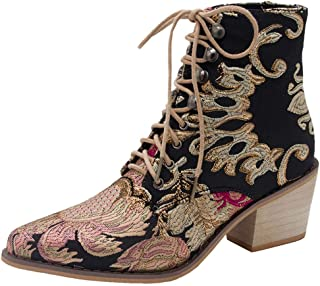 Funnygals - Women's Fashion Shoes Lace Up Ankle Boots - Booty - Chelsea Boots - Booties - Embroidered high Heel 6.5 cm