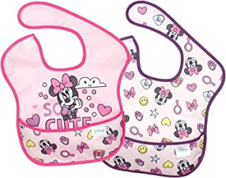 Bumkins Disney Minnie Mouse SuperBib, Baby Bib, Waterproof, Washable, Stain and Odor Resistant, 6-24 Months (Pack of 2)