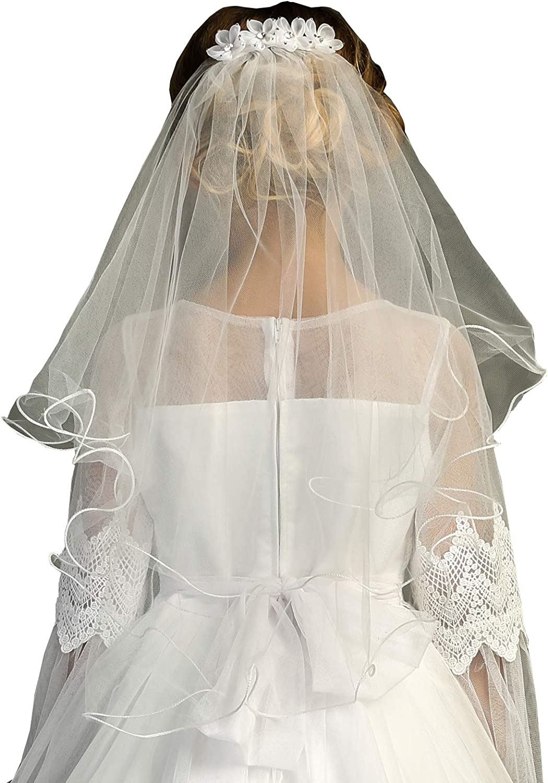 iGirlDress White Girls White Scalloped Floral Lace Edge Mantilla Communion Flower Girl Veil