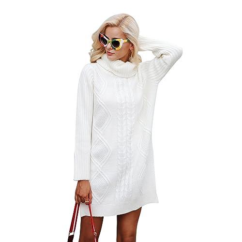 2685de7b53c Simplee Women s Winter Warm Oversized Turtleneck Long Pullover Sweater Dress