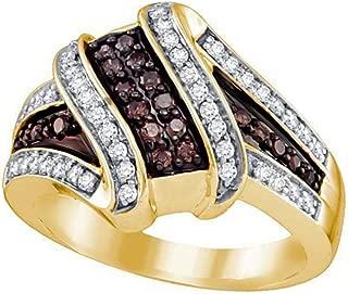 Brandy Diamond Chocolate Brown 10k Yellow Gold Wave Design Fine Ring 1/2 Ctw.