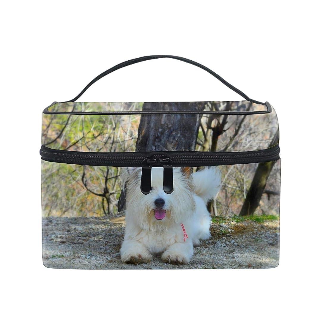 骨髄略語アクセント化粧ポーチ 化粧品 収納 コスメポーチ レディース ポーチ 大容量 軽量 防水ウェストハイランドホワイトテリア犬ふわふわ