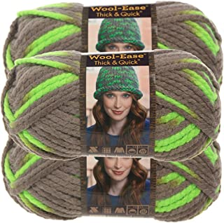 Lion Brand Yarn (3 Pack Wool Ease Thick & Quick Super Chunky Yarn for Knitting Crocheting Soft Yarn Bulky #6 Green 640-511