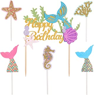 1 Pack Glitter Mermaid Happy Birthday Cake Topper Decoration and 5 Pieces Gold Glitter Mermaid Cake Decoration for Mermaid...