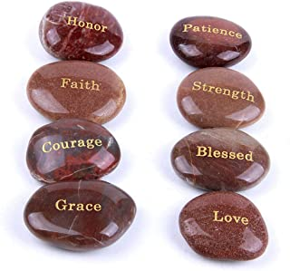 TGS Gems 2-3 inches Engraved Inspirational Red River Stones with Golden Words(8 Different Words)