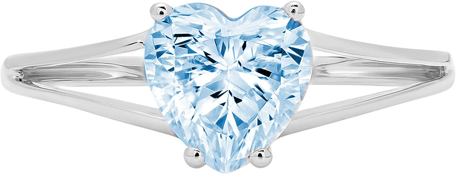 1.45ct Brilliant Heart Cut Solitaire split shank Aquamarine Blue Simulated Diamond CZ Ideal VVS1 D 4-Prong Classic Designer Statement Ring Solid Real 14k White Gold for Women