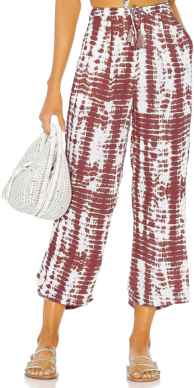 Nirovien Women's Tie Dye Lounge Cropped Pants Casual Drawstring Trouser Wide Leg Comfy Capri Pants