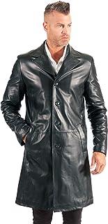 D'Arienzo Giaccone in Pelle Nera Uomo Cappotto Lungo Stile Matrix Giubbino Vera Pelle Made in Italy 032 Matrix