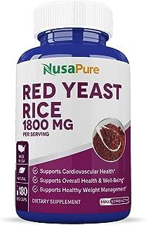 Red Yeast Rice 1800mg 180 Veggie Capsules (Non-GMO, Gluten Free & Citrinin Free) - Dietary Supplement Powder Pills to Support Cardiovascular Health