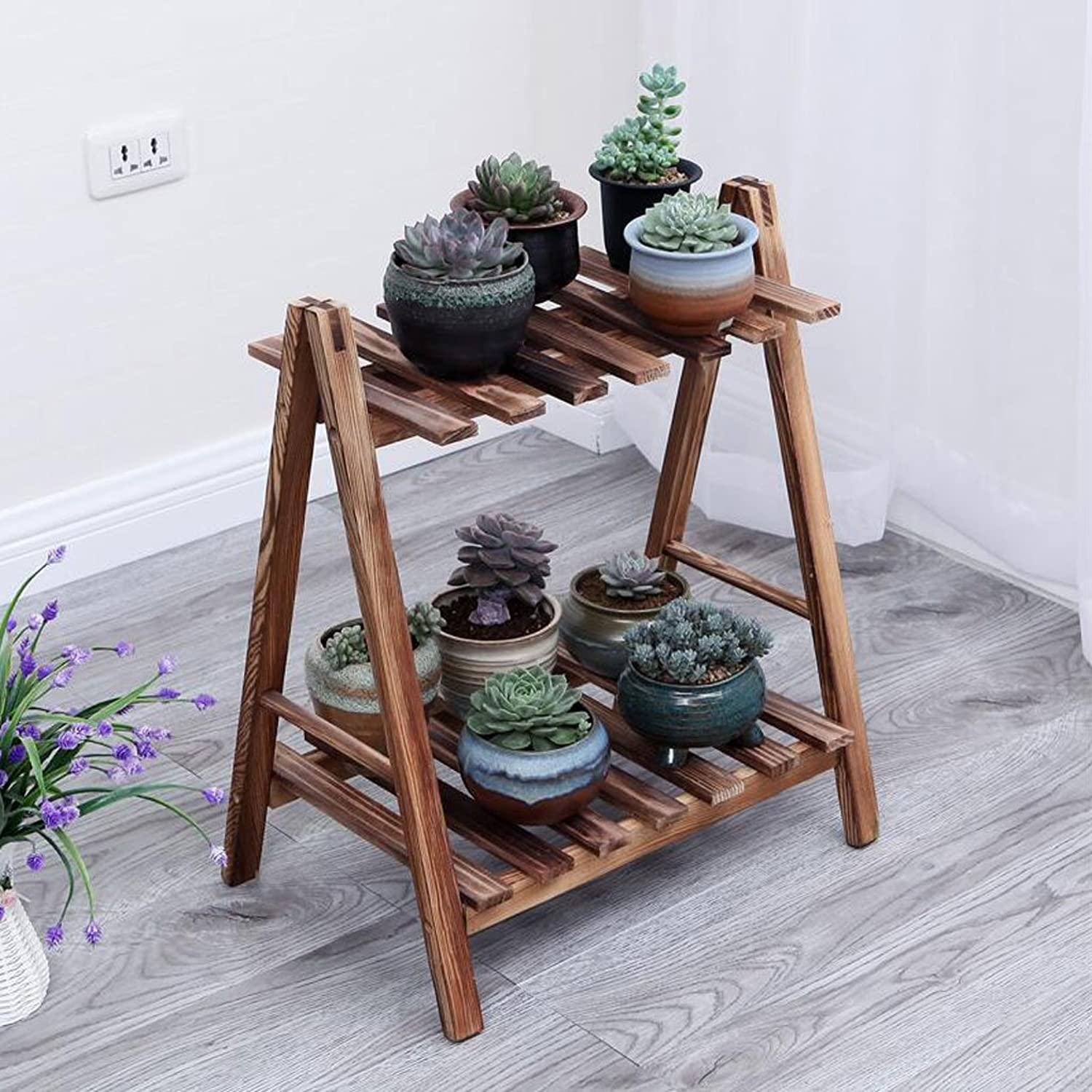 Flower stand Solid Wood flower stand Plant Stand Indoor Balcony flower stand Multi-Layer Floor Shelf Three-Dimensional flower stand (color   Brown, Size   L)