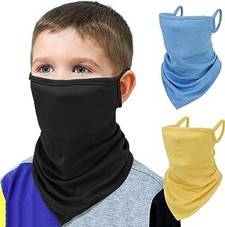 MoKo Kids Bandana Face Mask with Filter Pocket Ear Loops, 3 Pack Neck Gaiter Gator Balaclava for UV Sun Dust Wind Protection Cycling Neck Tube Scarf Headband for Boys Girls