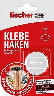 fischer KLEBE HAKEN - Komplettset mit Haken und Kleber zum Aufhängen ohne zu Bohren, in max. 15 Minuten startbereit und belastbar, weiß - 2 Teile - Art.-Nr. 545950