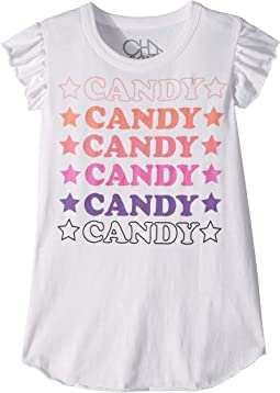 Super Soft Vintage Jersey Candy Candy Candy Flutter Sleeve Shirttail Tee (Little Kids/Big Kids)