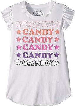 Super Soft Vintage Jersey Candy Candy Candy Flutter Sleeve Shirttail Tee (Little Kids/Big Kids)