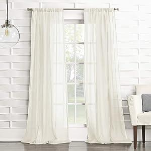 No. 918 Tayla Crushed Texture Semi-Sheer Rod Pocket Curtain Panel, 50