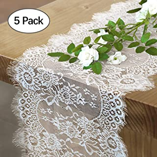 QueenDream 5 Pieces 14 X 120 Classic White Lace Fabric Table Runner Overlay for Elegant Chic Weddings Bridal Baby Girl Shower Decor