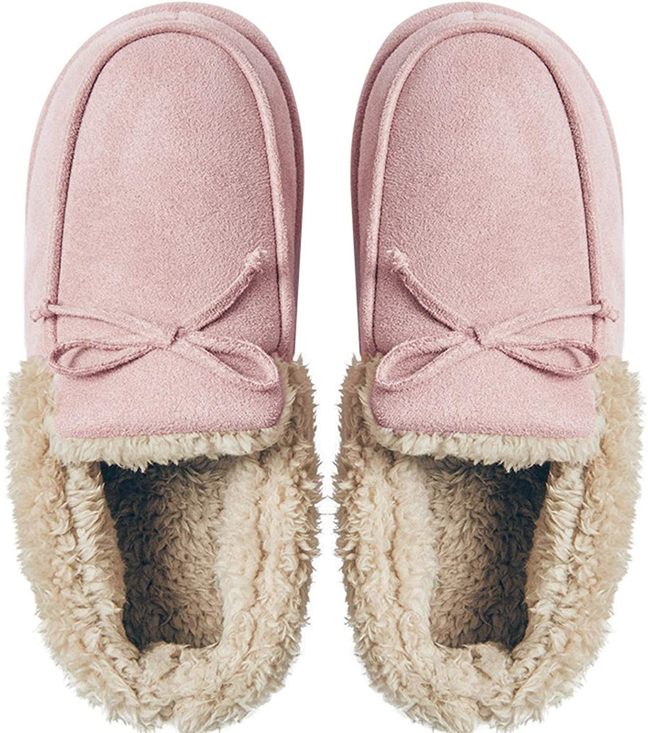 Women's Mute Home shoes Cute Bow Winter Warm Slippers Indoor Thick Soft Soles Non-Slip Slippers